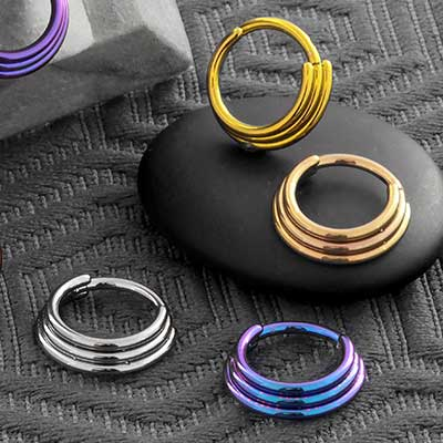 Triple Stacked Septum Clicker Ring