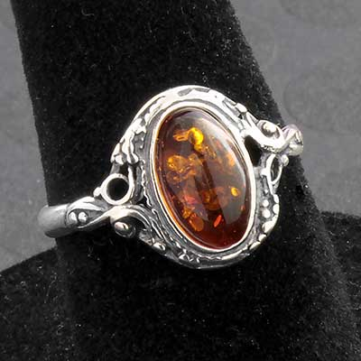 Silver and Framed Baltic Amber Ring