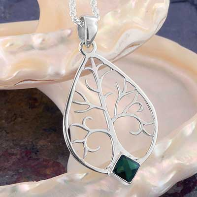 Silver Tree of Life with Green Quartz Necklace