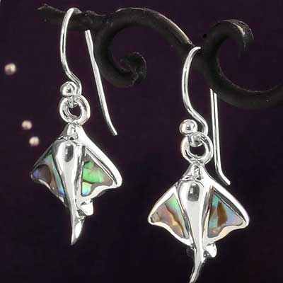 Silver Manta Ray with Shell Earrings