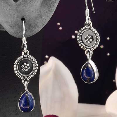Silver and Adorned Lapis Earrings