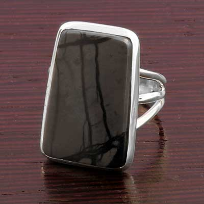 Silver and Picasso Jasper Ring