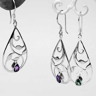 Silver Vine Teardrop Earrings with Gemstone