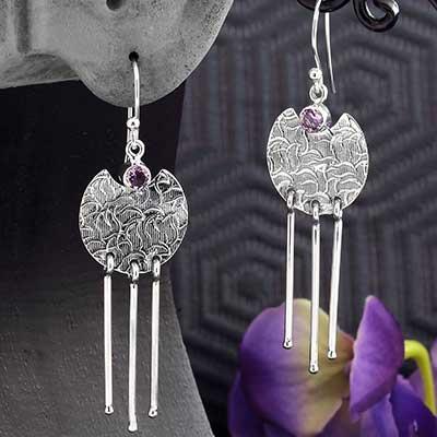 Silver and Amethyst Ornate Tassle Earrings