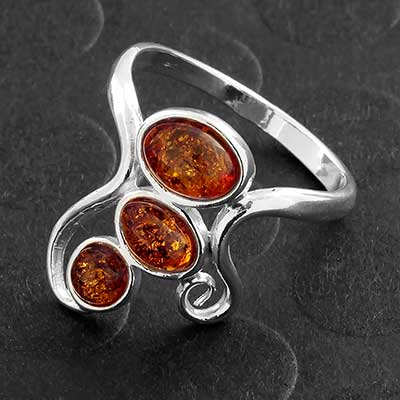 Silver and Baltic Amber Stacked Ring