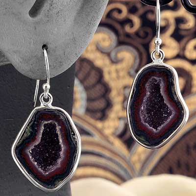 Silver and Geode Dangle Earrings
