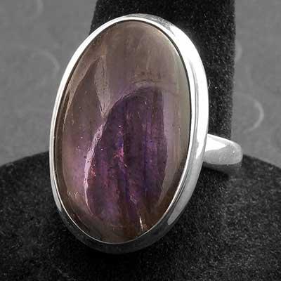 Silver and Purple Labradorite Ring