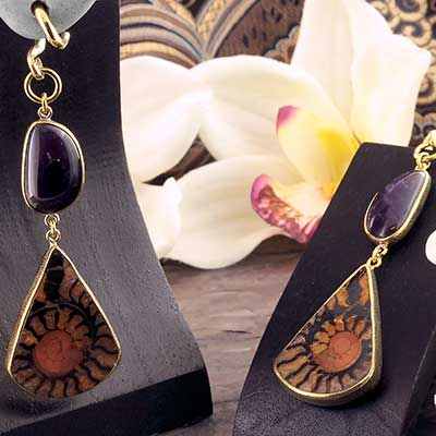 Solid Brass and Ammonite Teardrop Weights