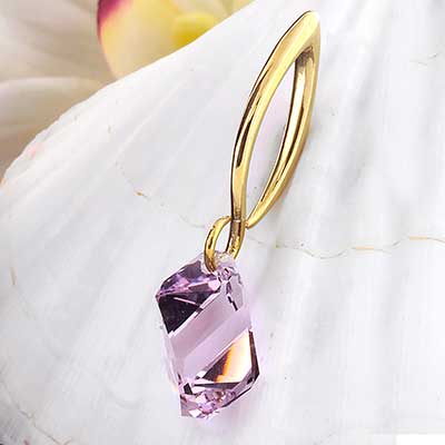 Light Amethyst Swarovski Crystal with Brass Hooks