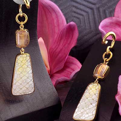 Solid Brass and Mother of Pearl with Quartz Weights