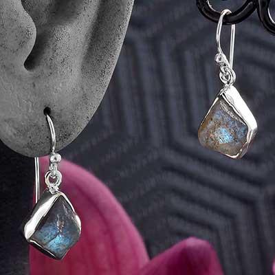 Silver and Rough Labradorite Earrings