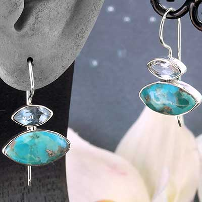 Silver and Turquoise Gemstone Stacked Earrings