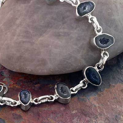 Geode and Silver Bracelet