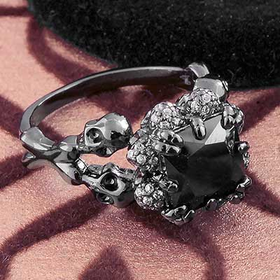 Black CZ and Skull Ring