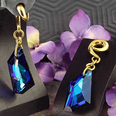 Bermuda Blue Swarovski Crystal with Brass Hooks