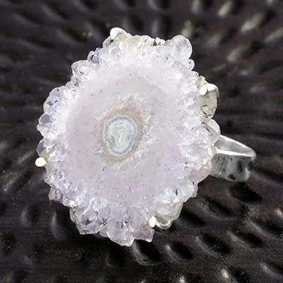 Silver and Amethyst Stalactite Ring