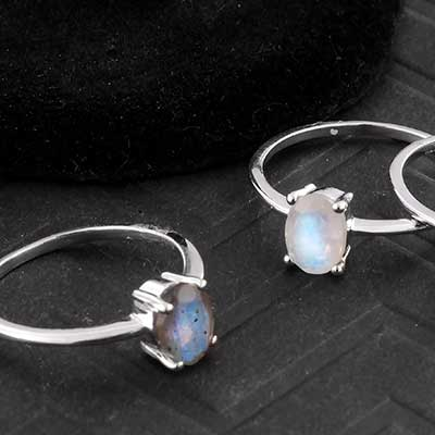 Silver and Petite Gemstone Ring