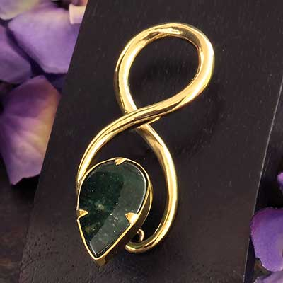 Solid Brass Twists with Green Quartz