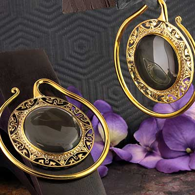 Solid Brass Puj Ju Hoops with Rainbow Obsidian