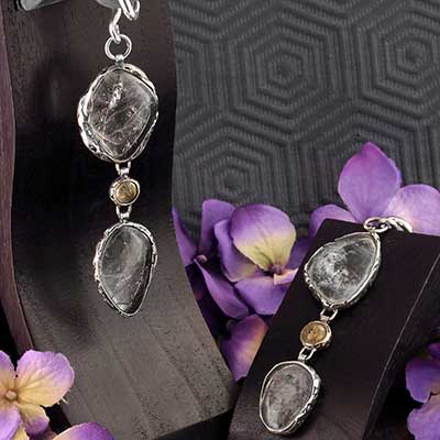Silver and Tourmalated Quartz Weights