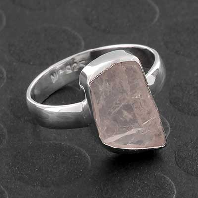 Silver and Rough Morganite Ring