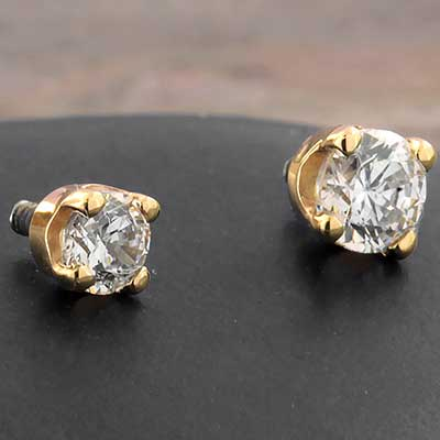 14k Gold Prong Set Threaded End