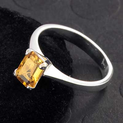 Silver and Genuine Citrine Ring