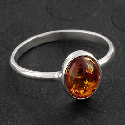 Silver and Oval Baltic Amber Ring