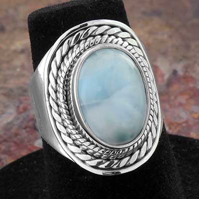 Silver and Framed Larimar Ring