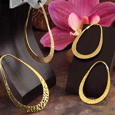 Brass Tear Hoops