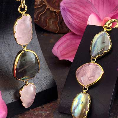 Solid Brass and Labradorite with Rose Quartz Weights