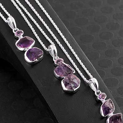 Silver and Amethyst Trio Necklace