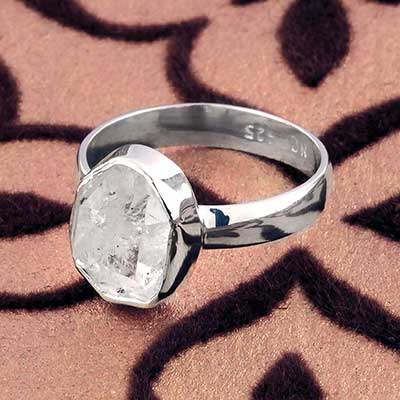 Silver and Rough Herkimer Diamond Ring