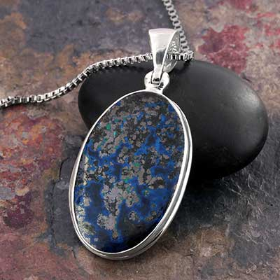 Azurite Malachite and Silver Necklace