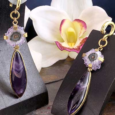 Solid Brass and Amethyst with Stalactite Weights