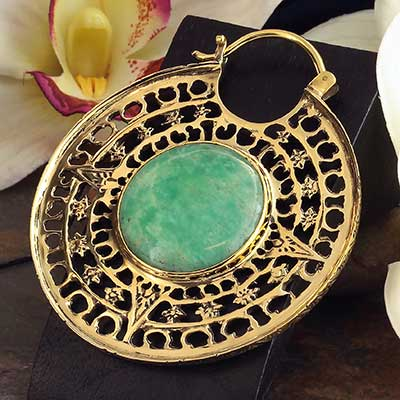Solid Brass Isis Clasp Design with Amazonite
