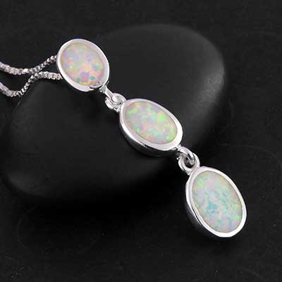 Silver and Trinity Opal Necklace