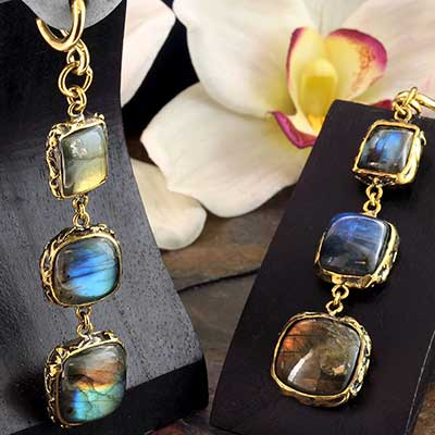 Solid Brass and Feral Labradorite  Weights
