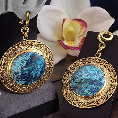 Solid Brass and Chrysocolla Medallion Weights