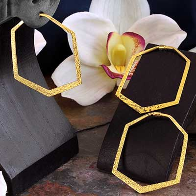 Brass Hex Hoops