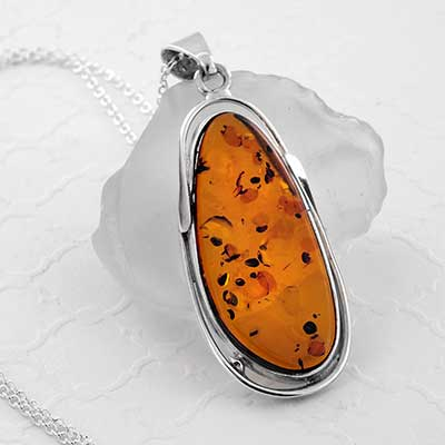 Silver and Baltic Amber Pendant Necklace