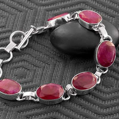 Faceted Ruby and Silver Bracelet