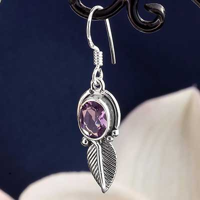 Silver and Amethyst Ornate Feather Earrings