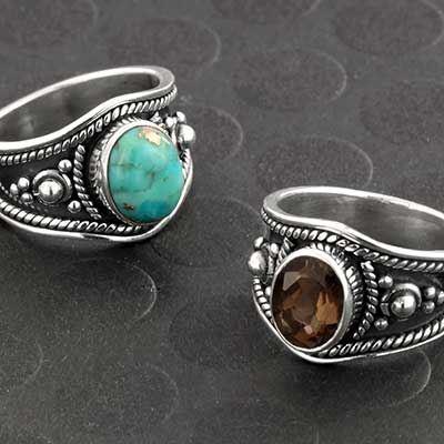 Silver and Stone Adorned Ring