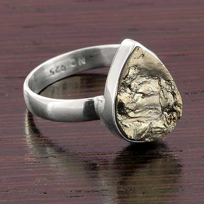 Silver and Rough Pyrite Ring