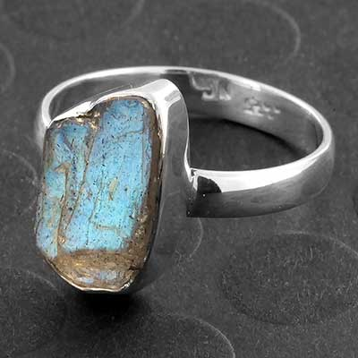 Silver and Rough Labradorite Ring