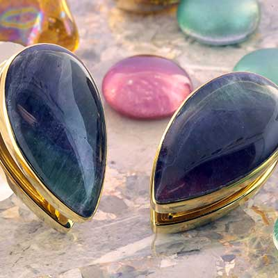 Solid Brass Spade Weights with Fluorite