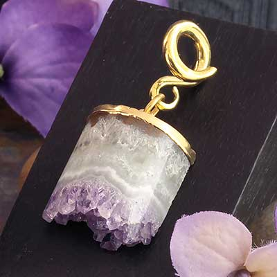 Gold Dipped Half Cylinder Amethyst Weights