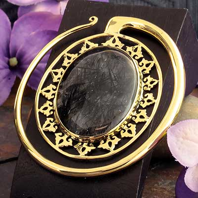 Solid Brass Oval Puj Ju Hoops with Tourmalated Quartz