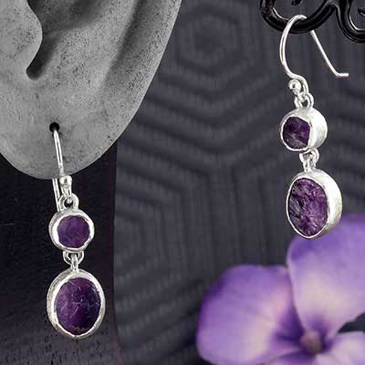 Silver Double Amethyst Earrings